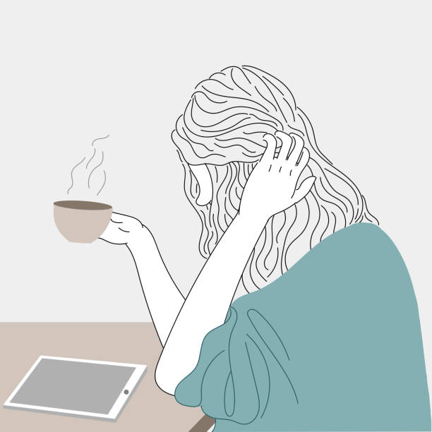 Woman drinks coffee while watching the tablet. vector art illustration