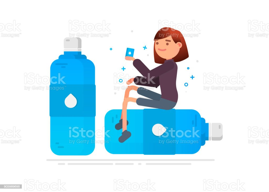 Woman drinks water. Protection against germs vector art illustration