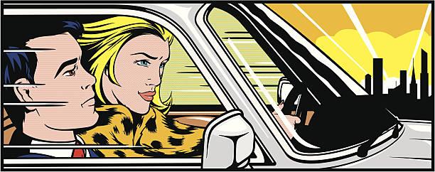 ilustrações, clipart, desenhos animados e ícones de mulher dirigindo um homem em - carro mulher