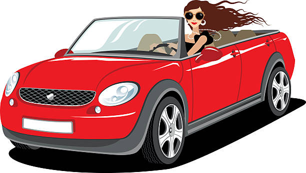 Woman driving a new car Fashionable young woman driving a new car. convertible stock illustrations