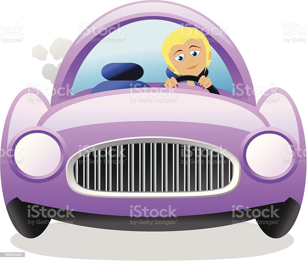 Woman driving cartoon royalty-free stock vector art