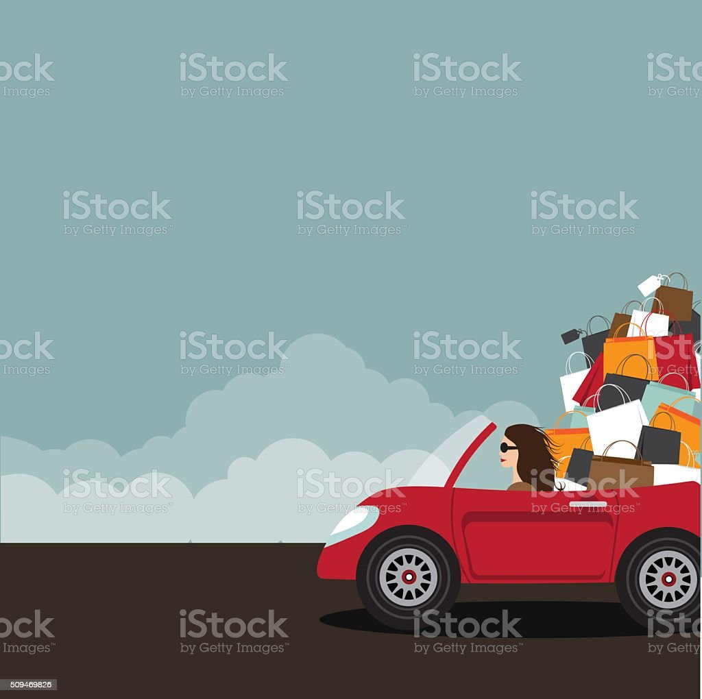 Woman driving convertible overloaded with shopping bags.