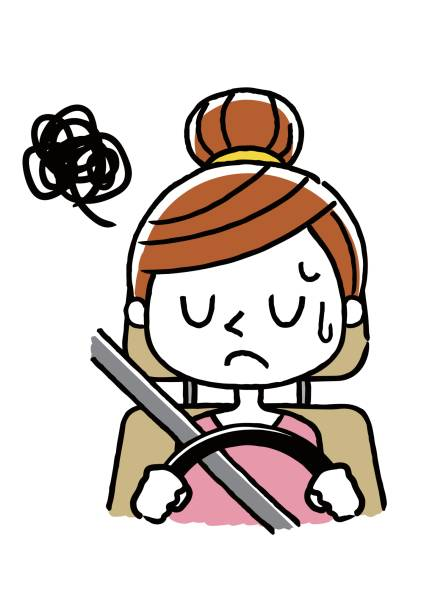 Woman driving: puzzled, depressed Woman driving: puzzled, depressed 悩む stock illustrations
