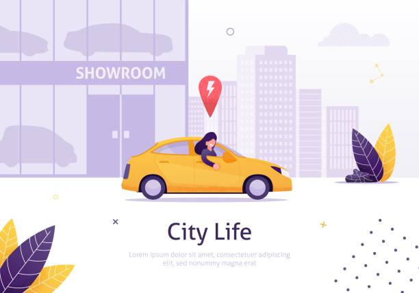 Woman Driving Rented or New Car from Showroom. Woman Driving Rented or New Car from Showroom Banner Vector Illustration. Cityscape with High Buildings on Background. Shop with Modern Vehicles. Character Looking out of Transport. showroom stock illustrations