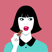 Young woman eating chocolate against pink background, simple vector illustration