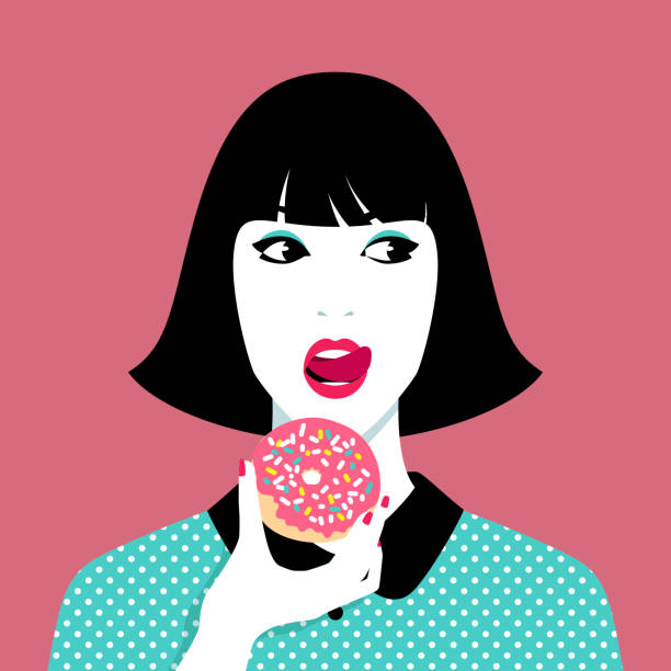 bildbanksillustrationer, clip art samt tecknat material och ikoner med kvinna äta donut - unga kvinnor