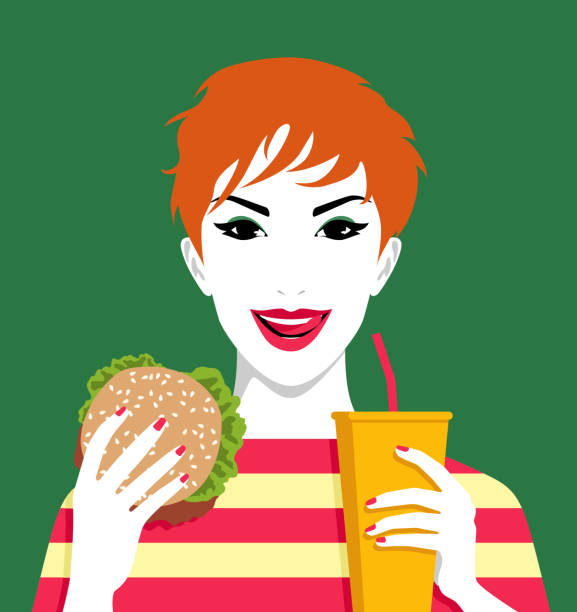 Woman eating hamburger and drinking lemonade Young cheerful redhead woman eating hamburger and drinkink lemonade by straw, simple vector illustration female sandwich stock illustrations
