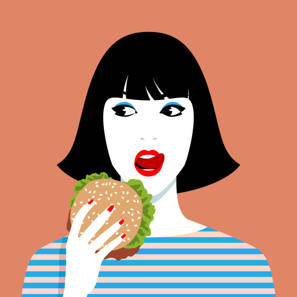 Woman eating hamburger Young cheerful woman eating hamburger, simple vector illustration female sandwich stock illustrations