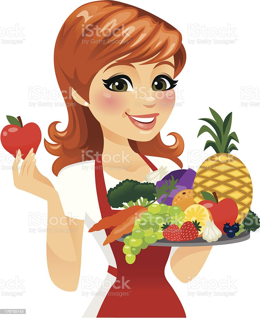 Woman Eating healthy Food A woman holding up a platter of fresh fruit and veggies. The single apple in her hand is removable in Adobe Illustrator.  Adult stock vector