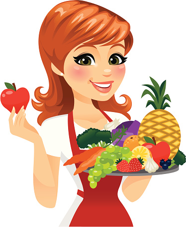 Woman Eating Healthy Food Stock Illustration - Download Image Now
