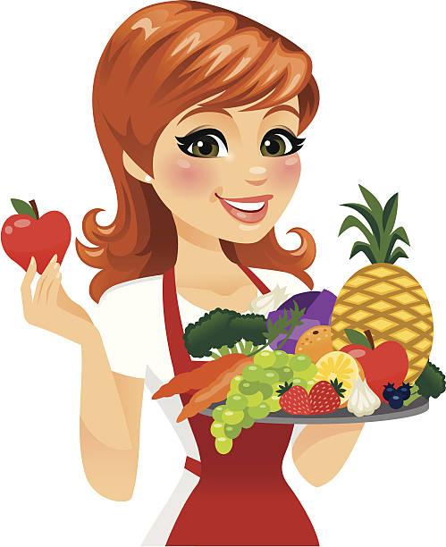 woman eating healthy food - heyheydesigns stock illustrations