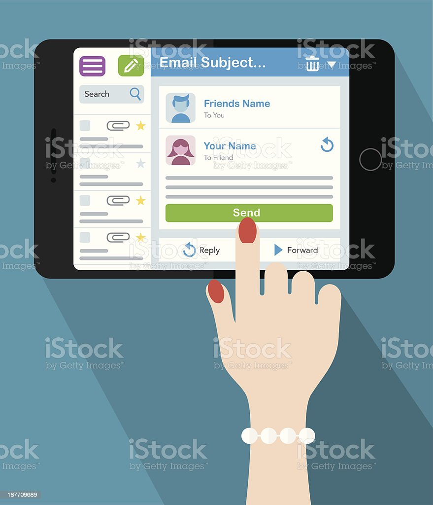 Woman emailing on a Tablet royalty-free stock vector art