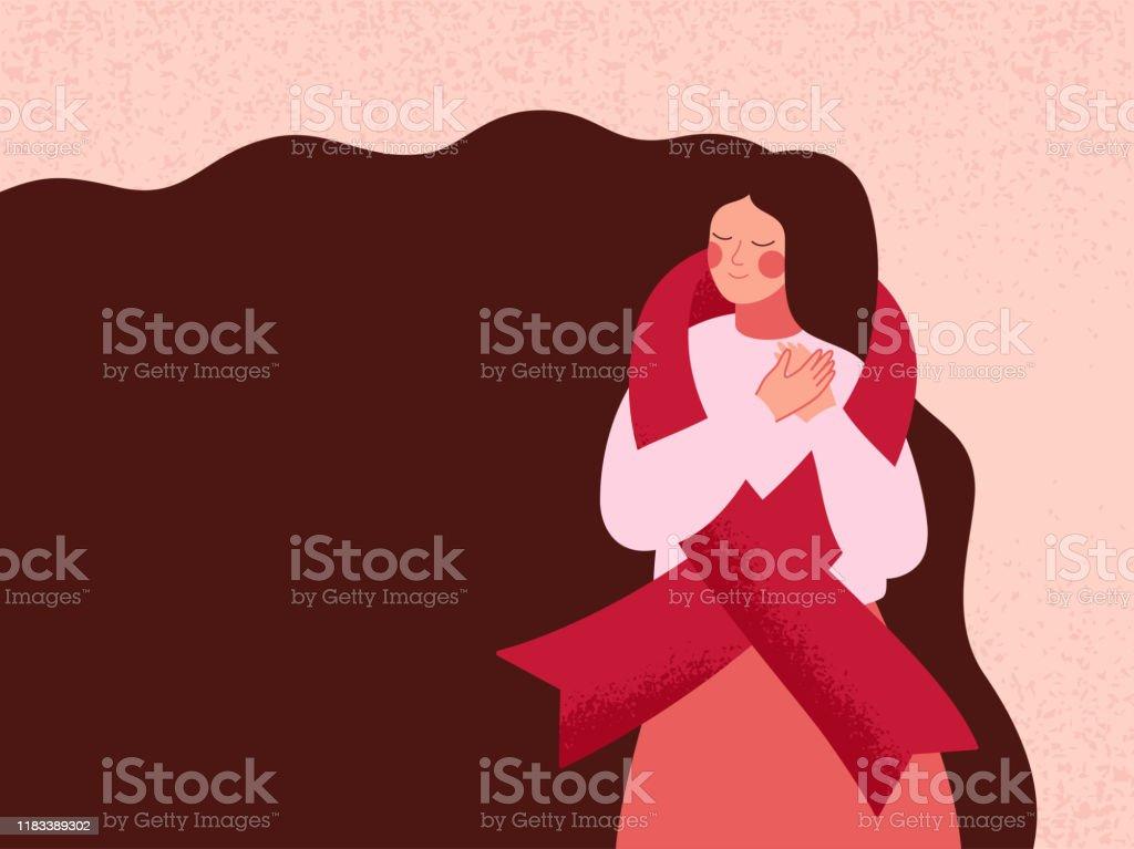 婦女用紅絲帶擁抱自己,支援愛滋病和愛滋病毒患者 - 免版稅20多歲圖庫向量圖形