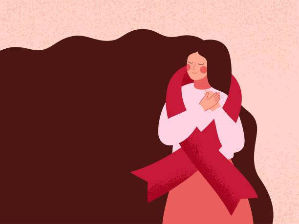 frau umarmt sich mit rotem band zur unterstützung von aids- und hiv-patienten - aids stock-grafiken, -clipart, -cartoons und -symbole