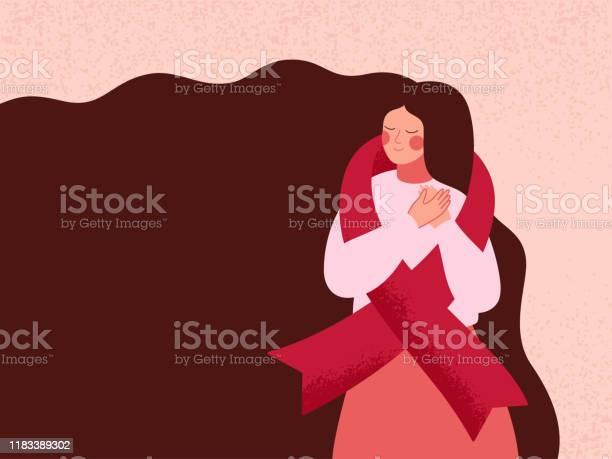 婦女用紅絲帶擁抱自己支援愛滋病和愛滋病毒患者向量圖形及更多20多歲圖片