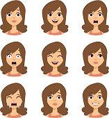Woman emoji face vector icons