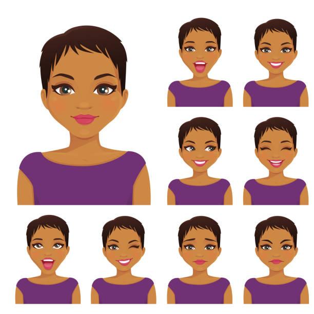 ilustraciones, imágenes clip art, dibujos animados e iconos de stock de conjunto de emociones de mujer - cabello castaño