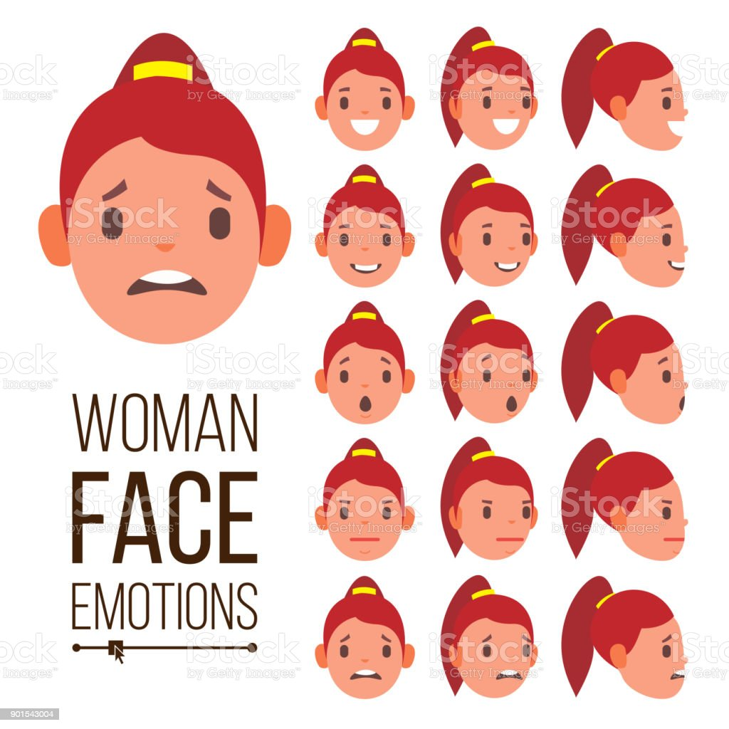 Woman Emotions Vector Handsome Face Female Cute Joy Laughter Sorrow