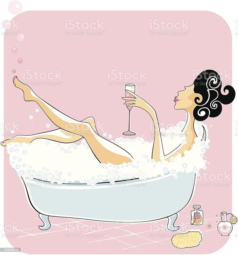 Woman enjoying a bubble bath vector art illustration