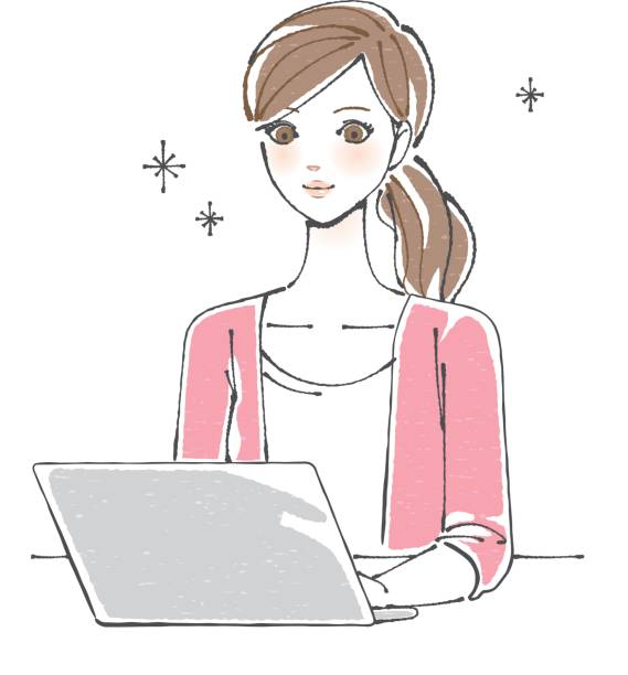 pc を楽しむ女性 - 大学生 パソコン 日本点のイラスト素材/クリップアート素材/マンガ素材/アイコン素材