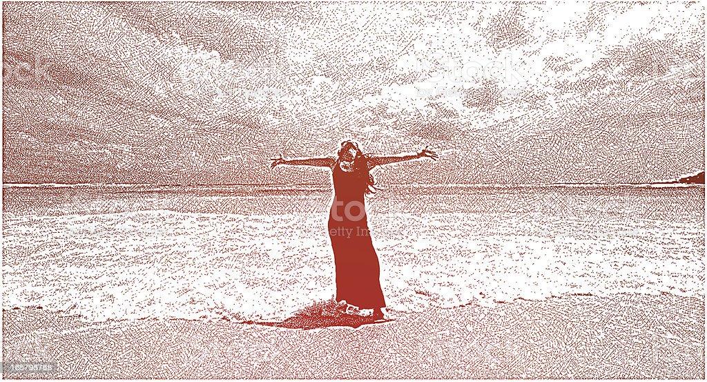 Woman Enjoying Beach royalty-free stock vector art