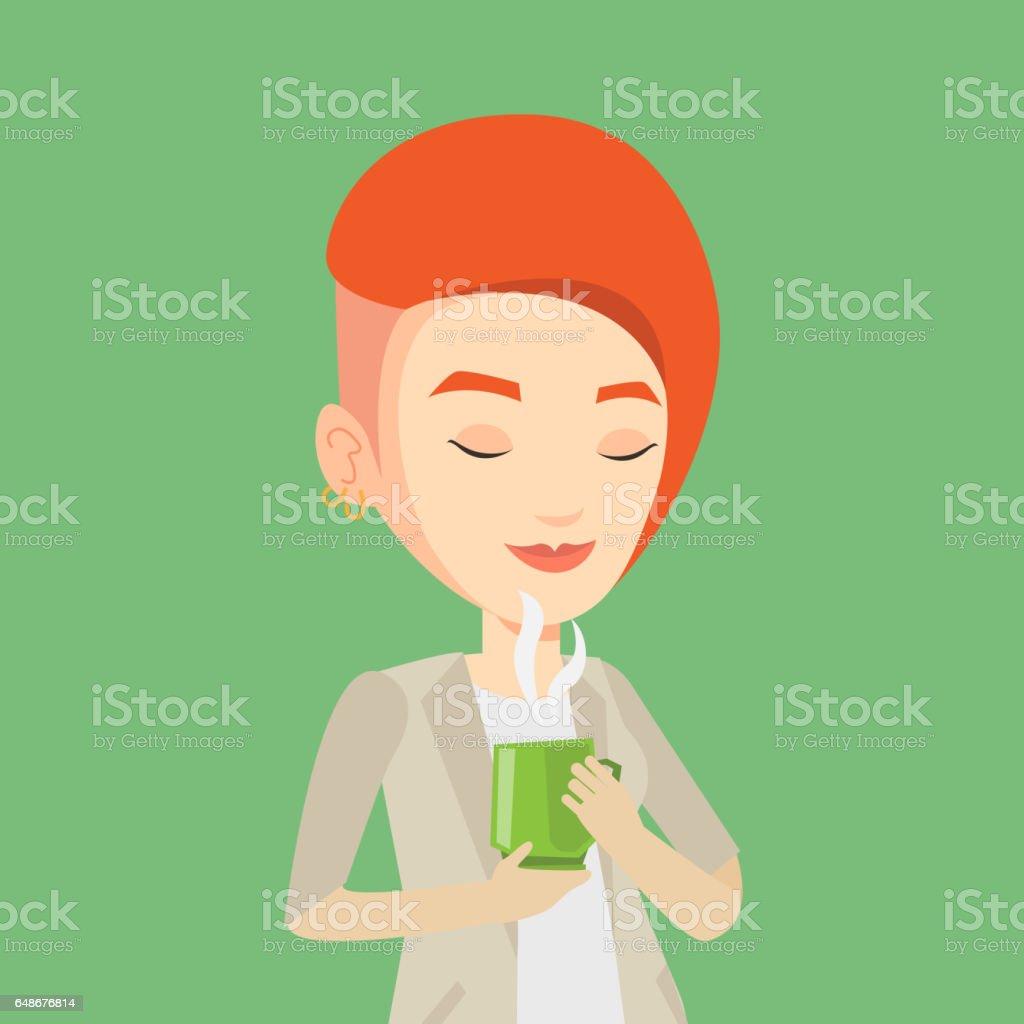 Woman enjoying cup of coffee vector illustration vector art illustration