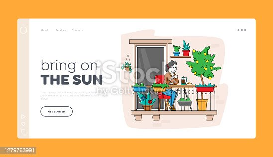 istock Woman Enjoying Relaxation at Home Garden Landing Page Template. Female Character Sitting in Armchair Drinking Coffee 1279763991