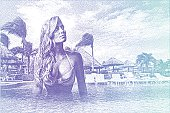 Etching illustration of woman swimming in tropical resort infinity pool.