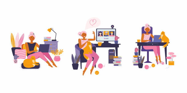 ilustrações de stock, clip art, desenhos animados e ícones de woman enjoying their free time, performing leisure activities and doing hobbies.  surfing the internet, working remotely, freelance, communicating with friends, online training. spending time at home - remote work