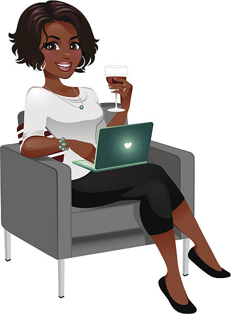 woman enjoying wine with laptop - heyheydesigns stock illustrations