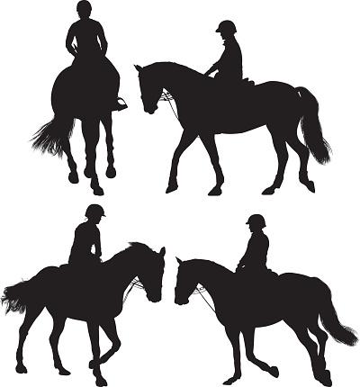 Woman equestrian riding horse