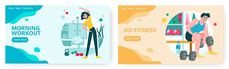 Woman exercise at home. Man work out in gym. Bodybuilder lift dumbbells. Sport concept illustration. Vector web site design template. Landing page website illustration