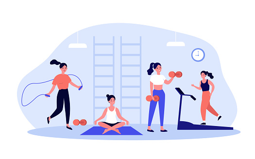 Woman exercising in fitness club or gym
