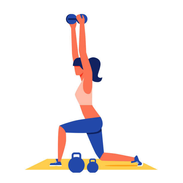 Woman Exercising with Dumbbells on Yellow Carpet.