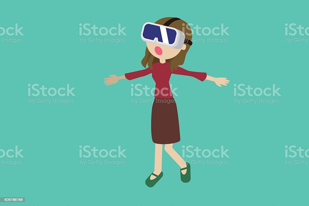Woman experiencing VR headsets vector art illustration
