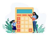 istock Woman explaining girl how to use calculator 1285078987