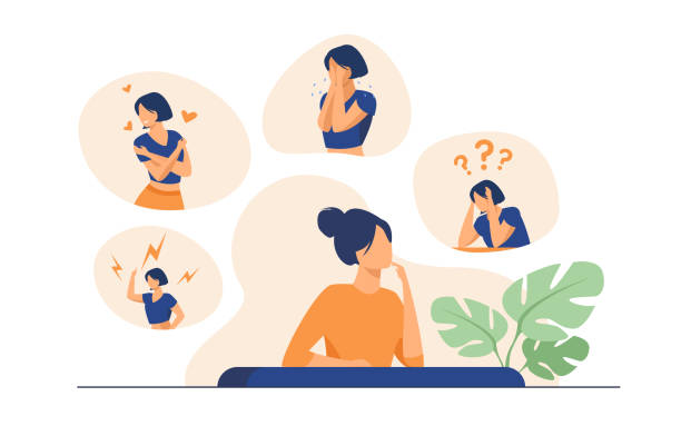 Woman expressing strong various feelings and emotions Woman expressing strong various feelings and emotions. Girl suffering from distracted behavior and mood changes. Vector illustration for mental disorder, psychology, stress, crisis concept love emotion stock illustrations