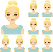 Blond woman with different facial expressions set