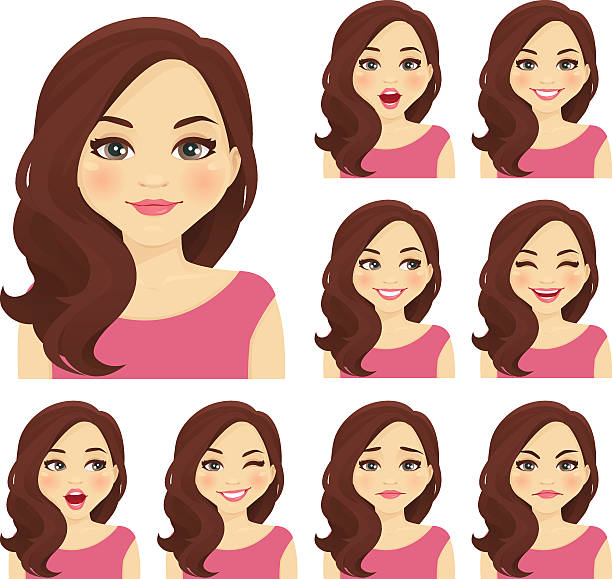 woman expression set - female faces stock illustrations, clip art, cartoons, & icons