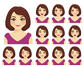 Woman with different facial expressions set isolated