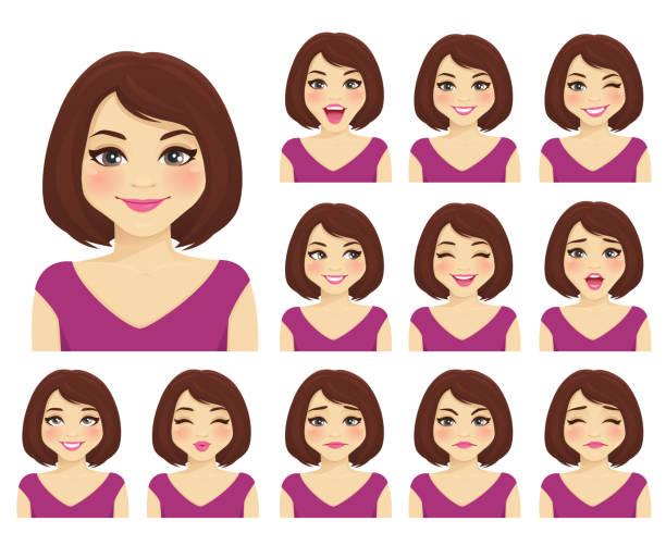 illustrazioni stock, clip art, cartoni animati e icone di tendenza di woman expressions set - espressione del viso
