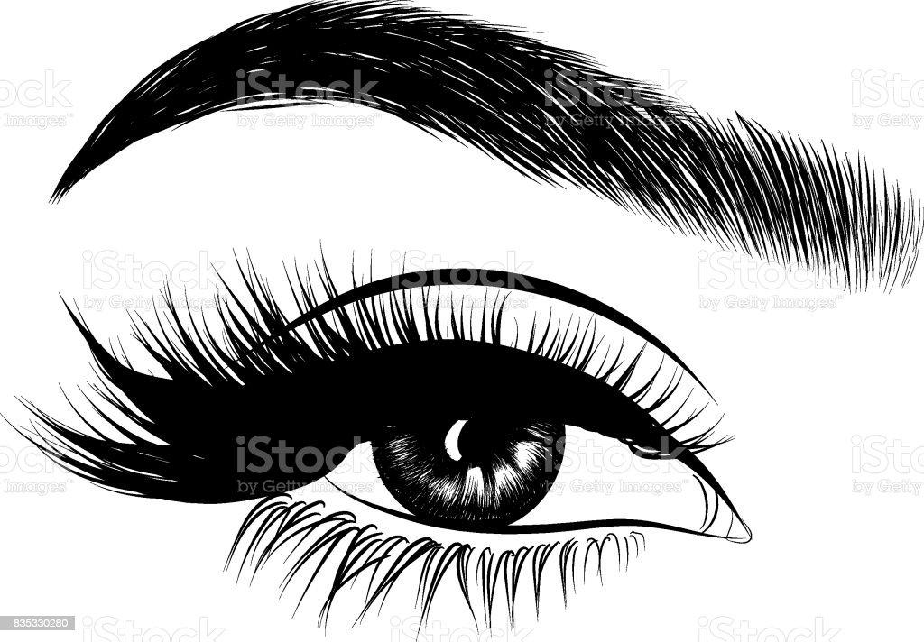 Frau Auge und perfekte Augenbrauen Make-up Look – Vektorgrafik