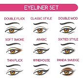 Woman eyes makeup set