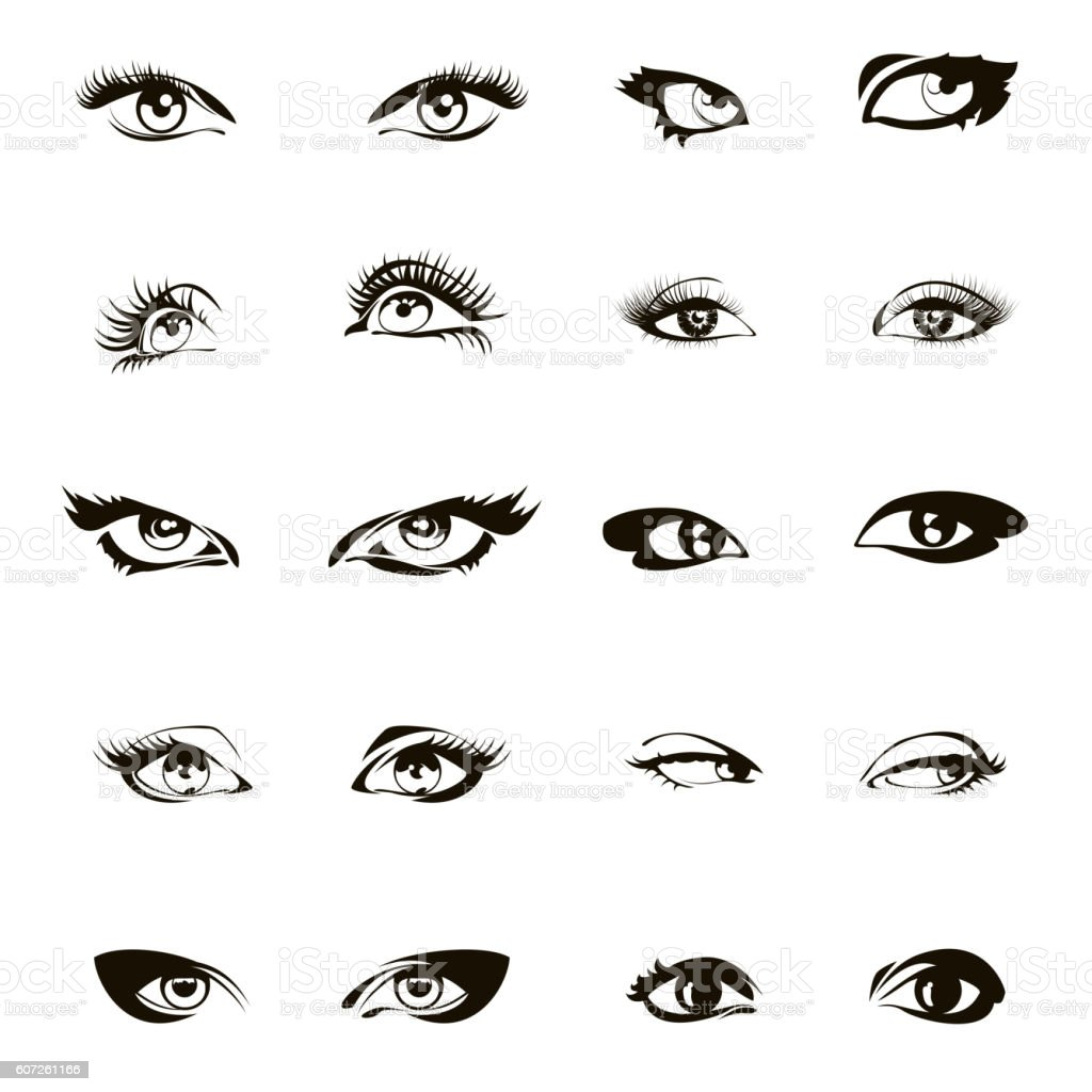 Woman Eyes Vector Beautiful Female Eye Set Or Ink Drawing