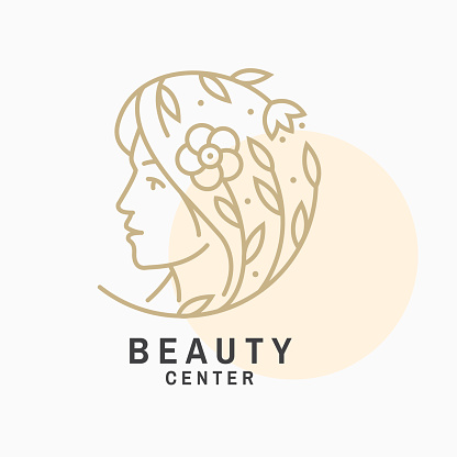 Woman face and flower with leafs symbol, label, badge, emblem. Beauty center sign for cosmetics, jewellery, beauty and handmade products, tattoo studios. Linear trendy style. Vector illustration