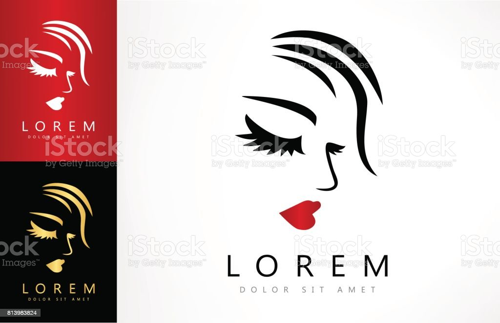 Woman face and hair icon vector art illustration