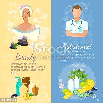 Woman face banner skin care proper nutrition dietetics natural cosmetics vector illustration