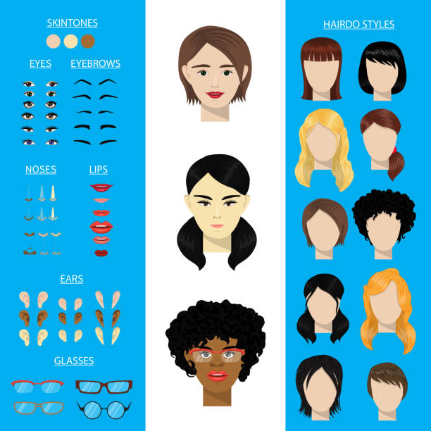 woman face constructor vector set female character avatar creation head ears lips nose eyes eyebrows hairdo asian african american facial elements construction illustration isolated - nos stock illustrations