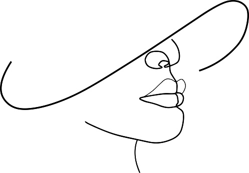 Woman face continuous line drawing