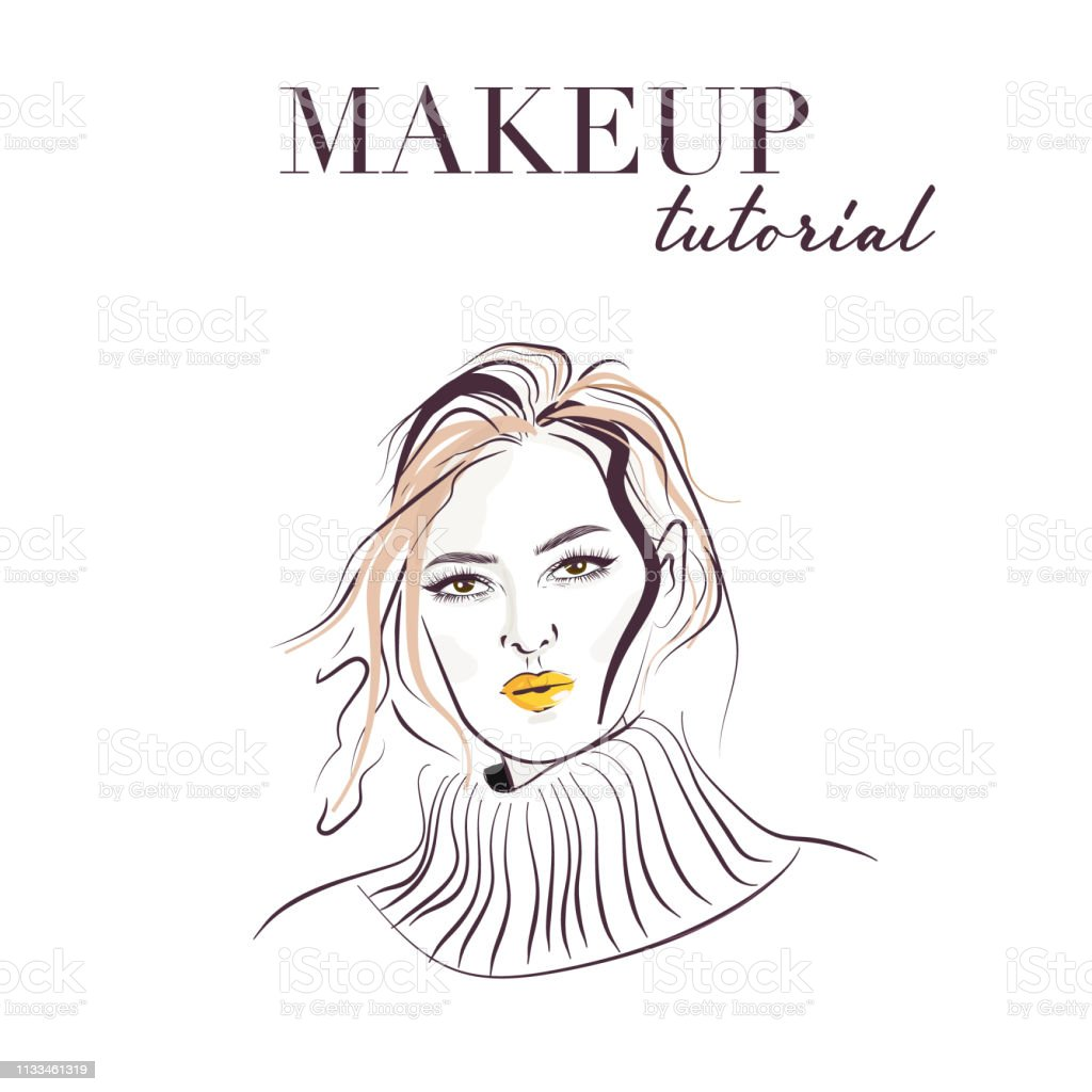 Woman face hand drawn makeup model face vector sketch young woman with bright lips
